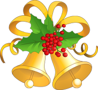 Transparent Christmas Gold Bells with Mistletoe PNG Clipart 200